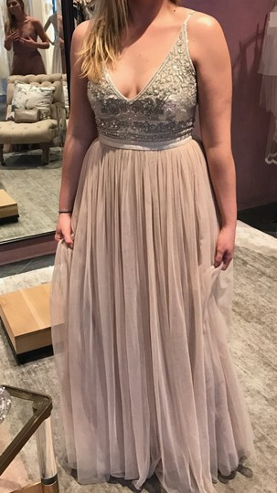 BHLDN Beige Polyester Georgette Bodice with A Nylon Tulle Skirt Both Lined In Polyester Needles Thread Formal Bridesmaid/Mob Dress Size 6 (S) Image 6