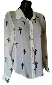 About A Girl Los Angeles Cross Print Sheer Button Down Shirt White