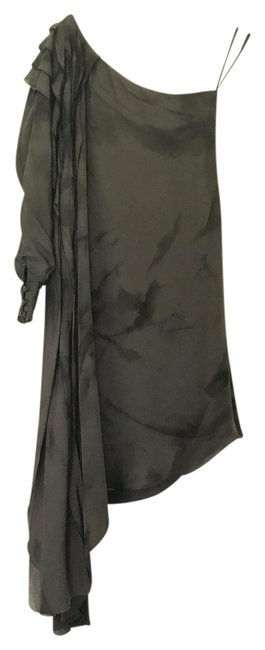 Item - Taupe Black One-of-a-kind Abstract Print Silk Short Formal Dress Size 8 (M)