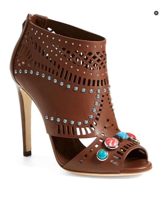 Item - Multi-colored Lika Laser Cut Brown Leather Jeweled Stones Ankle Boots/Booties Size EU 36.5 (Approx. US 6.5) Regular (M, B)