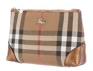 Burberry Metallic brown multicolor Shimmer Burberry plaid cosmetic bag