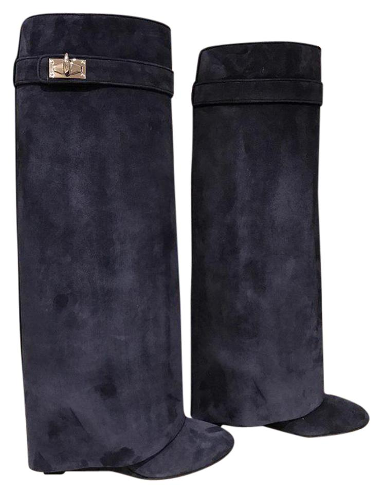 Givenchy Shark Lock Wedge Blue Boots