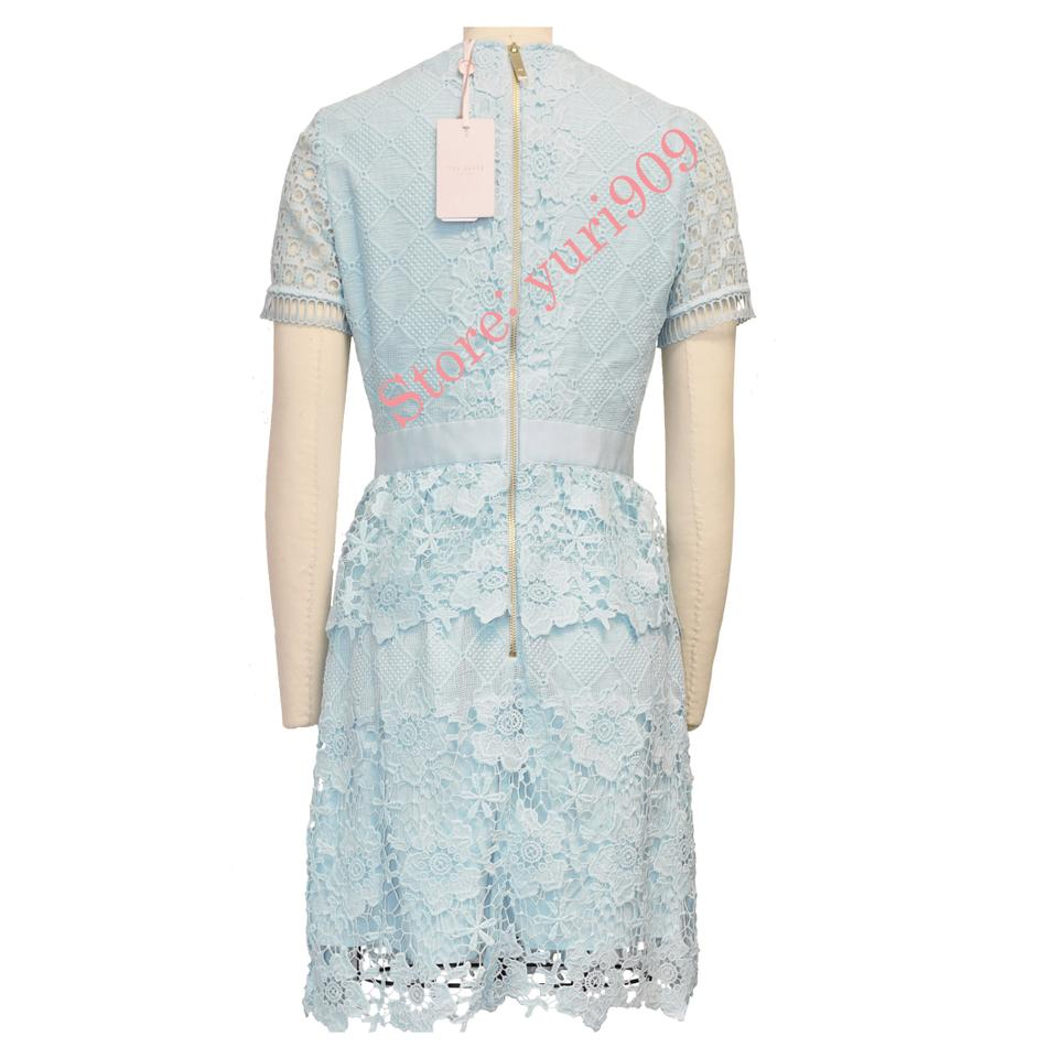 Ted Baker Baby Blue Dixa Layered Lace Skater Short Cocktail Dress Size 8 M 52 Off Retail