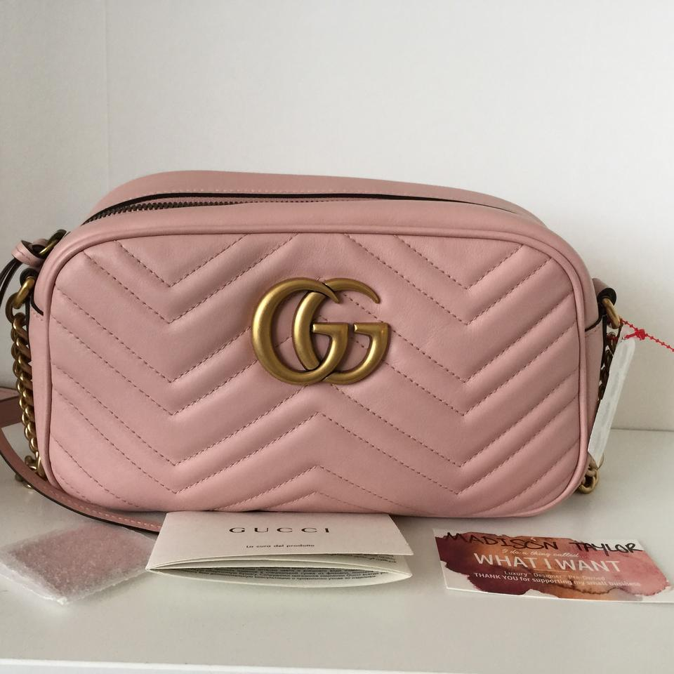 073b5f7e47d64a Gucci Camera Marmont Gg Chevron Small Quilted Blush Pink Leather ...