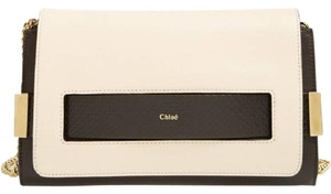 Chloe Snakeskin Elle Black and White Clutch