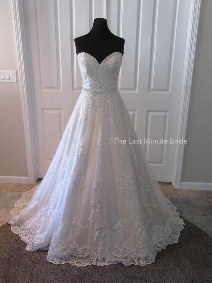 Maggie Sottero Ivory Over Light Gold With Pewter Accents Lace Reba 7ms335 Feminine Wedding Dress Size
