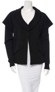 Vera Wang Unique Wool Detail Slit Pockets Flattering Black Blazer