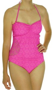California Waves CALIFORNIA WAVES PINK ILLUSION CROCHET BANDEAU ONE PIECE SWIMSUIT XL