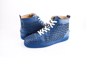Christian Louboutin * Blue Navy Studded High Top Sneakers Shoes