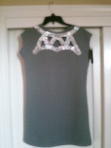 BCBG Max Azria Silver Studded Front & Back Tunic Dress