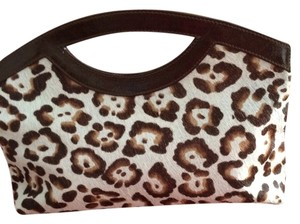 Doncaster Cheetah with brown leather trim Clutch