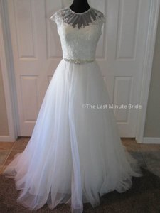 MADISON JAMES Ivory/Silver Tulle & Lace Mj167 Feminine Wedding Dress Size 14 (L)