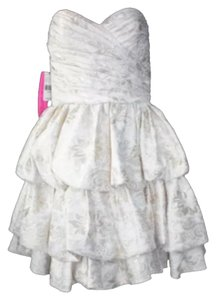 BETSEY JOHNSON Nwt Strapless Jacquard Tiered 6 Dress