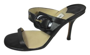 Jimmy Choo Slide Buckle Leather 7.5 black Sandals