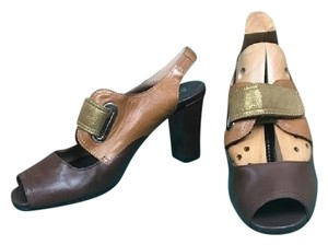 Anyi Lu Leather Strappy Open Toe Chunky Brown, Tan Pumps