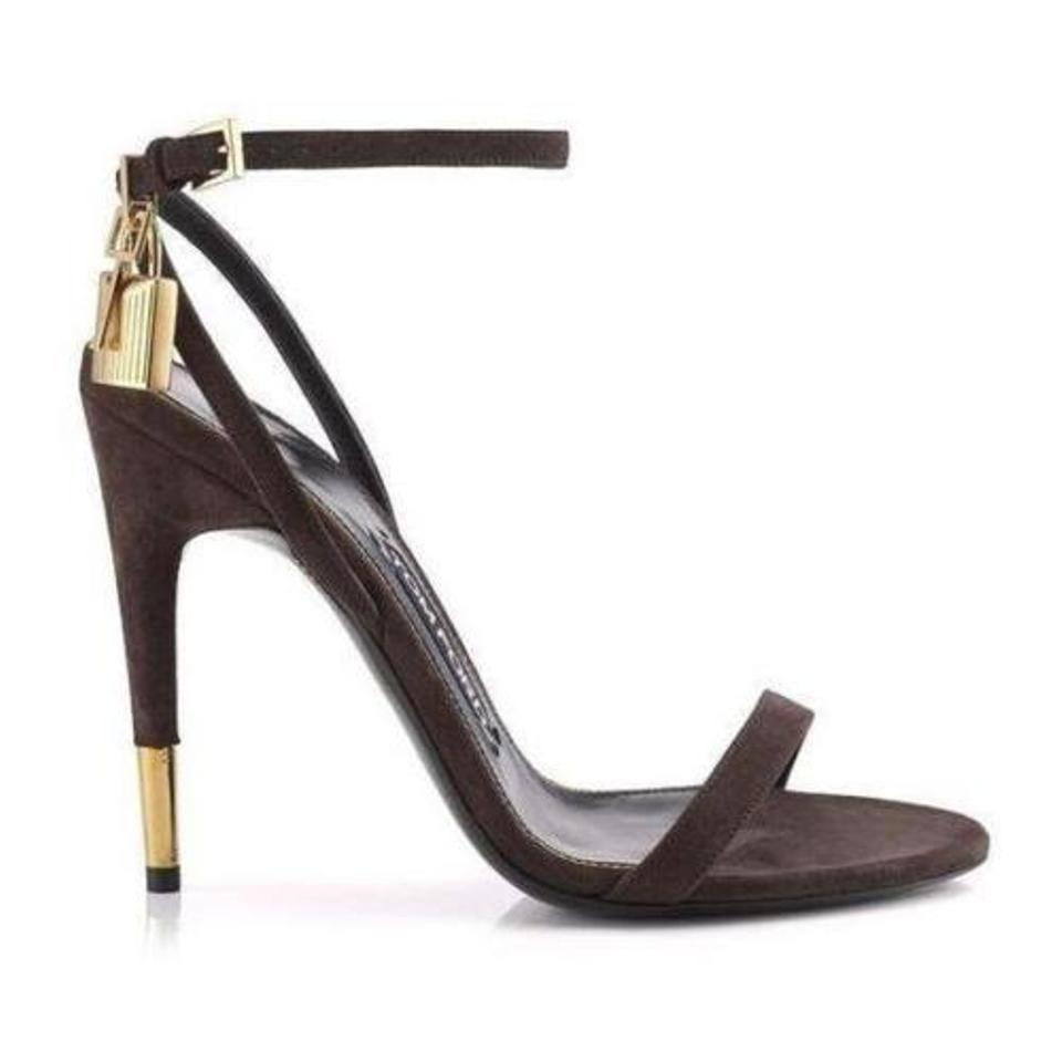 5b40c0d80b0d Tom Ford Brown Suede Naked Strap Padlock Sandals Size EU 37.5 ...