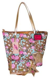 Betsey Johnson Color Pouch Wallet/X Body Tote in taupe /multi