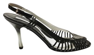 VIA SPIGA Patent Peep Toe Heels Patent Leather Strappy Black Sandals