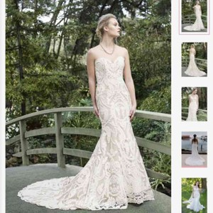 Casablanca Champagne/ Ivory Lace Zinnia 2265 Formal Wedding Dress Size 14 (L)