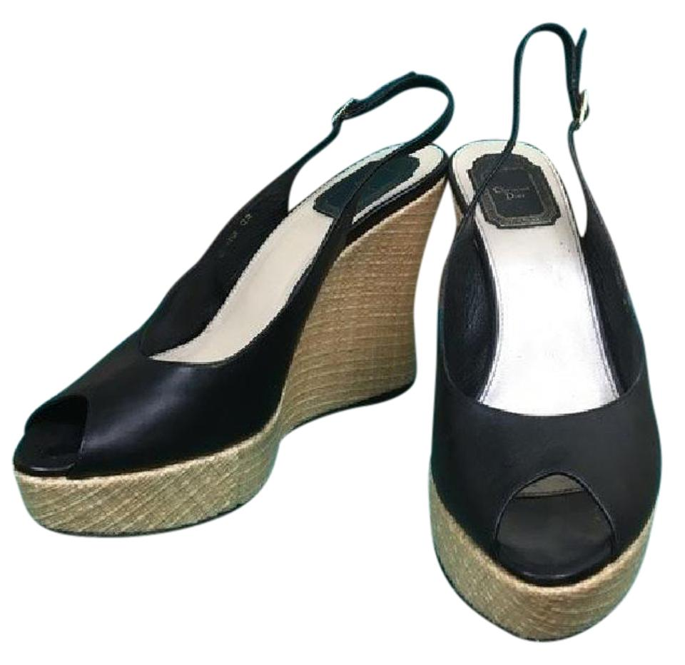 Dior Wedges Black Tan Leather Christian Wedges Dior 42ffd6