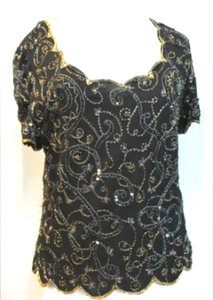 Marina Rinaldi Black Silk Embellished Blouse Formal Bridesmaid/Mob Dress Size 8 (M)