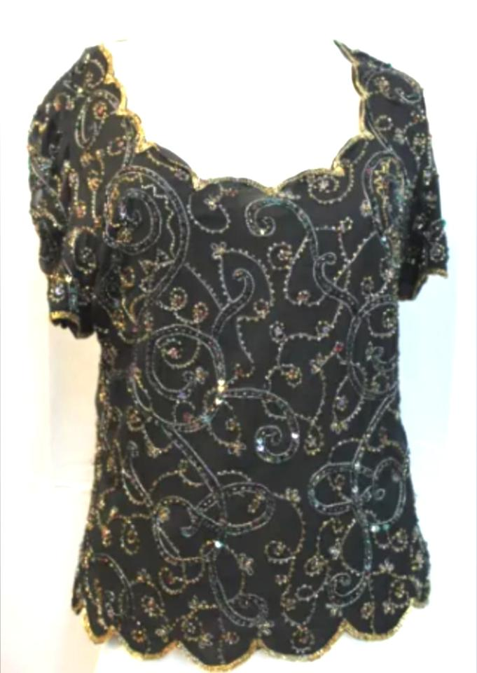 Marina rinaldi black silk embellished blouse formal for Marina rinaldi wedding dresses