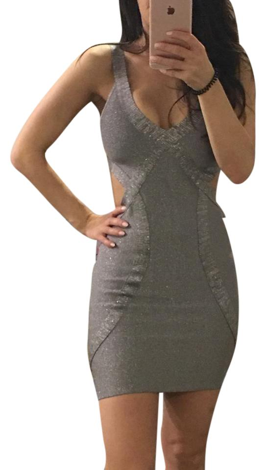 c6a36a8fb5b6 bebe Silver Sparkles Party Night Out Dress. Size  0 (XS) Length  Mid-Length  ...