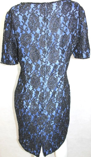 Black/Blue Rayon/Nylon Embellished Formal Dress Size 12 (L)