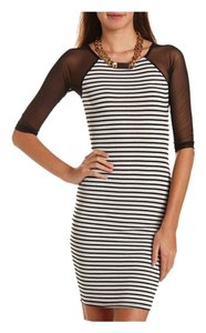 Charlotte Russe short dress Black and white Striped Midi Bodycon on Tradesy
