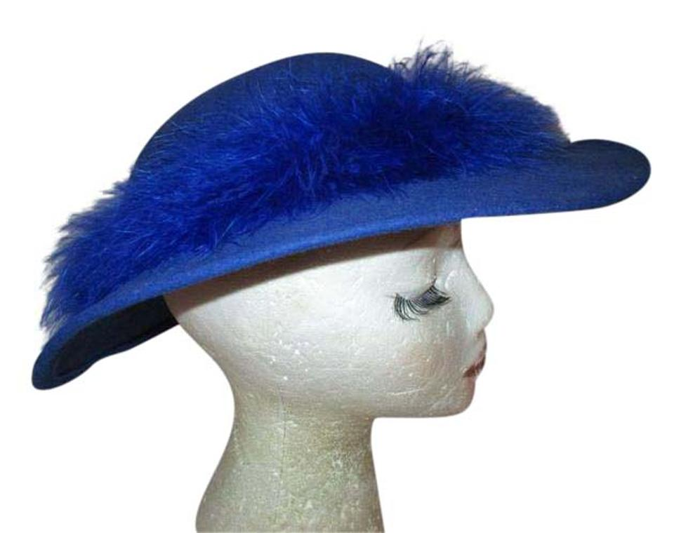 Bollman Hat Company Blue Vintage Doeskin Felt with Feather Band Hat ... a9b196154a4