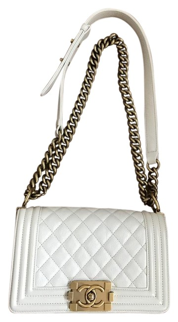 Item - Boy Caviar Quilted Flap Cream/Ivory Leather Cross Body Bag