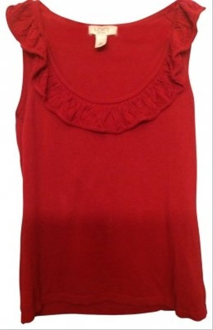 Preload https://item1.tradesy.com/images/ann-taylor-loft-berry-red-ruffled-neck-blouse-size-petite-2-xs-21960-0-0.jpg?width=400&height=650