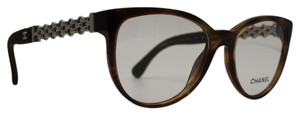 Chanel Transparent Cognac Silver Chain Quilted Leather Frames 3321-q c.1525