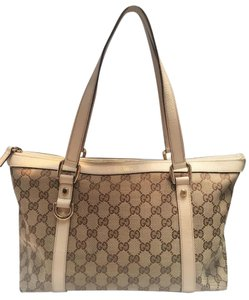 Gucci Leather Vintage Tote in Beige, White