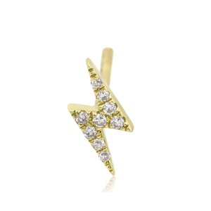 EF Collection EF Collection diamond mini lightning bolt single stud earring