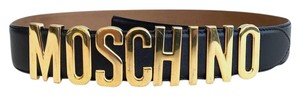 Moschino $295 MOSCHINO Black Smooth Leather Gold Letters Logo Belt Women's 42