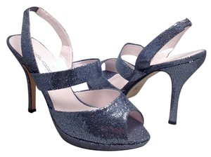 Caparros Dressy Sandals Wedding Formal Casual Fashionista Open Toe Slingback Glitter Metallic High Heels Peep Toe Silver Glitter Platforms