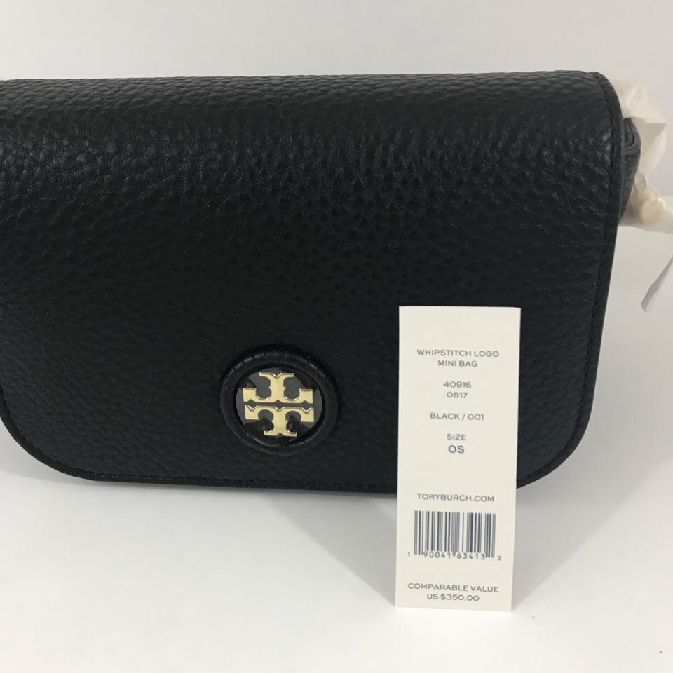 cc212a37de6 Tory Burch Whipstitch Logo Mini Black Leather Cross Body Bag - Tradesy