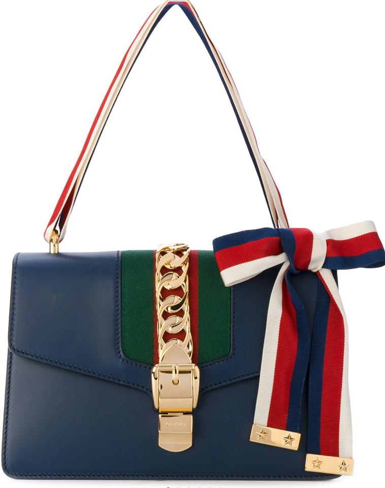 38817613c99 Gucci Sylvie With Red and White Detail. Navy Blue 8582 Calf Leather  Shoulder Bag - Tradesy