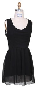 Brandy Melville short dress Black Ruffle Party Flowy Peter Pan Collar A-line on Tradesy