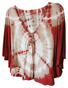 Bat Wing Poncho Top Orange/Tan/White Tie Dye