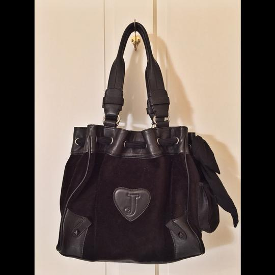 Juicy Couture Studded Velvet Faux Leather Tote in Black