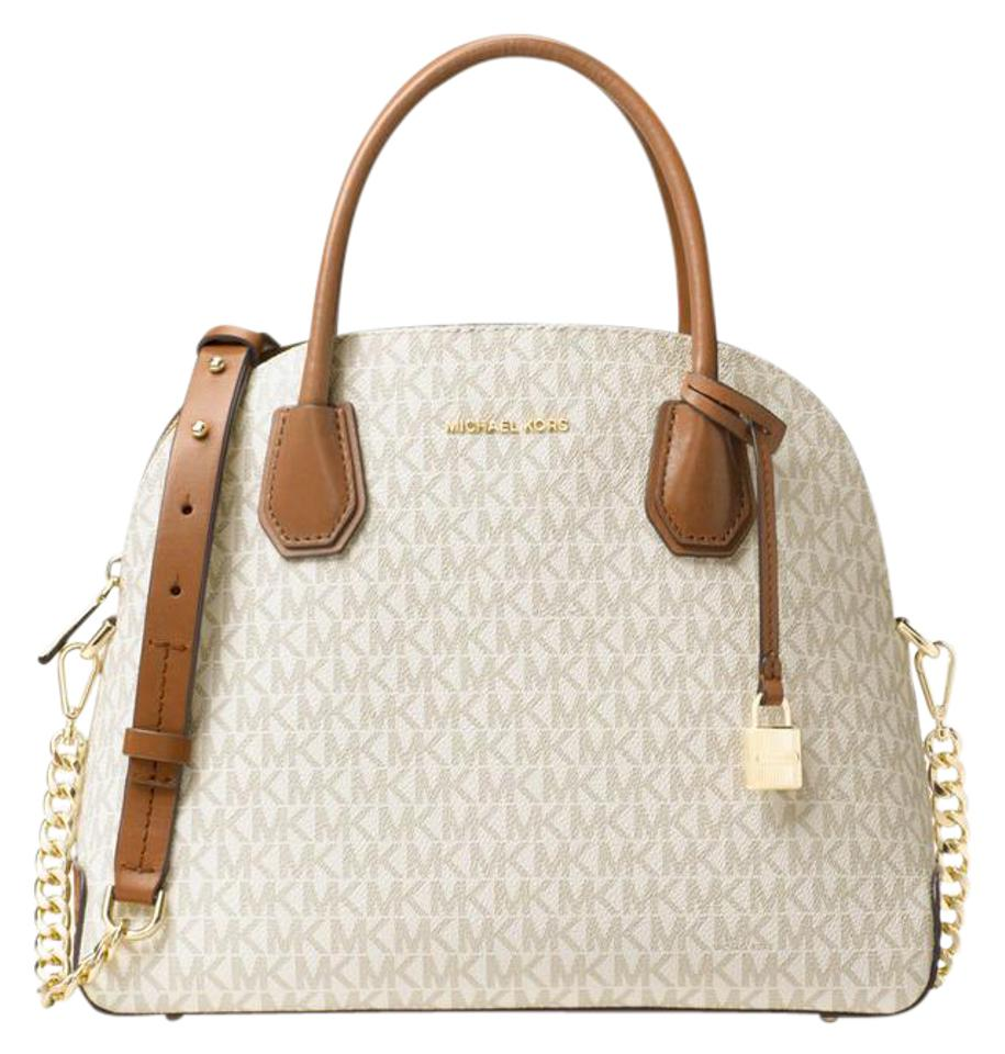 356a225fd6e0 Michael Kors Studio Mercer Large Dome Vanilla Signature Leather ...