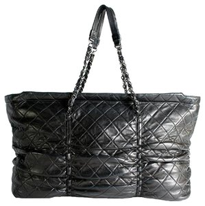 """Chanel Xxl 16"""" Black Quilted Lambskin Leather East-west Sharpei Tote Shoulder Bag"""