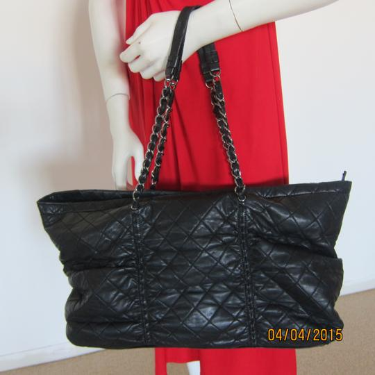 "Chanel Xxl 16"" Black Quilted Lambskin Leather East-west Sharpei Tote Shoulder Bag"