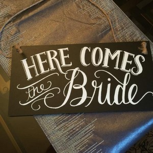BHLDN Black with White Script Ring Bearer/Flowergirl Entrance & Exit Sign Ceremony Decoration