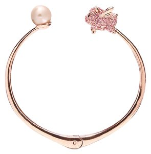 Kate Spade KATE SPADE 12K Gold Pink Imagination Pig Open Hinge Bangle Bracelet