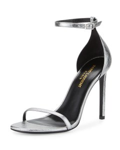 Saint Laurent Strappy Ysl Sexy Steel Gray Sandals