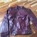 Classique Burgundy Leather Military Style Bomber Jacket Size 2 (XS) Classique Burgundy Leather Military Style Bomber Jacket Size 2 (XS) Image 2