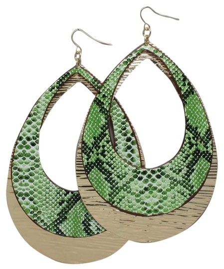 Other Green Snake Skin Print Drop Earring